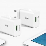 СЗУ XO L36 1 USB разъем 18W (быстрый заряд QC3.0), блочок + кабель для IPhone 5/6/7, белый