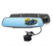 Видеорегистратор-зеркало с камерой заднего вида HD1080P, черный