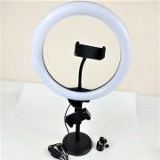Круговая лампа для селфи LC-666, 26 см, с подставкой и дополнительным креплением для телефона