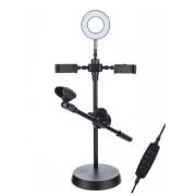 Круговая лампа для селфи 16 см, с подставкой и держателем для микрофона