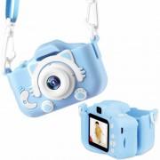 "Детский фотоаппарат + чехол ""Cute Kitty"" (видео, фронт.камера, экран 2"", microSD, игры), голубой"