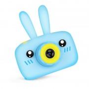 "Детский фотоаппарат + чехол ""Зайчик"" (съемка видео, экран 2"", microSD, игры), голубой"