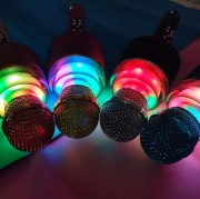 Микрофон-колонка Q008 Bluetooth + FM + SD micro + USB + AUX, золотисто-розовый