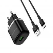 СЗУ USB Borofone BA36A  с кабелем Micro USB, High speed single port QC3.0,18W, черный