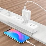 СЗУ USB Borofone BA45A  с кабелем iPhone 5, Max power dual port charger set, белый