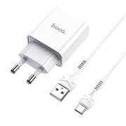 C81A Сетевое зарядное устройство Hoco  Asombroso 1USB + кабель Micro, белый