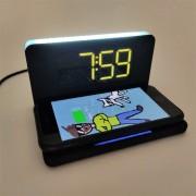 Беспроводное зарядное устройство,10 Вт с функцией часов,будильника и подсветкой,STAND (SBP-W-100)