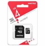 Micro SD  4Gb SmartBuy (Class 10) с адаптером (SB4GBSDCL10-01)