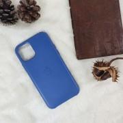 """Чехол-накладка для iPhone 12 (6.1"""") Leather Case, кожаный, синий космос"""