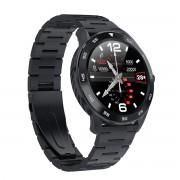 Смарт часы DT98, водозащита IP68, Bluetooth, пульсометр,стальной ремешок + силиконновый, черный
