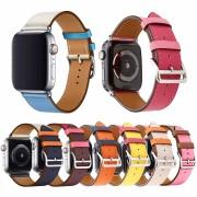 Ремешок для Apple Watch 42-44mm, New hermes leather, кожаный, комбинированный, розовый/бежевый