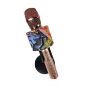 Микрофон-колонка D998 Bluetooth + FM + SD micro + USB + AUX. золотисто-розовый