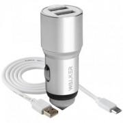 AЗУ WALKER 2в1 WCR-21, 2 USB разъема (2,1А) + кабель Type C, серебряный