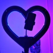 """Круговая лампа для селфи 46 см """"Сердце"""" + штатив, с сумкой"""