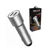 AЗУ WALKER WCR-22, 2 USB разъема (2,4А) блочок (удлиненный корпус), серебряный