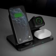 ЗУ беспроводное XO WX018 3в1 iPhone/Apple Watch/TWS 15W, черный