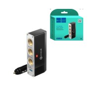 Разветвитель в прикуриватель WF-096 1A 0.6M (3 гнезда, USB) DREAM, черный