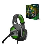 Игровая гарнитура RUSH PUNCH'EM, динамики 50мм, поворотный микрофон, LED, черн/зеленый