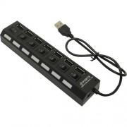 Smartbuy USB-HUB 2.0 с выключателями, 7 портов, СуперЭконом (SBHA-7207-B), черный