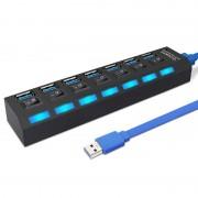 Smartbuy USB-HUB 3.0 с выключателями, 7 портов, СуперЭконом (SBHA-7307-B), черный