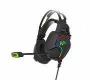 Игровая гарнитура Smartbuy RUSH AMBITION, RGB, металлич.оголовье, 50мм динамики,черн/зеленый