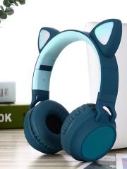 Наушники Bluetooth полноразмерные Cat Ear ZW-028 со светящимися кошачьими ушками, синий