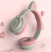 Наушники Bluetooth полноразмерные Cat Ear ZW-028 со светящимися кошачьими ушками, серый