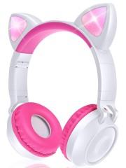 Наушники Bluetooth полноразмерные Cat Ear ZW-028 со светящимися кошачьими ушками, розовый