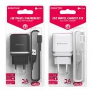 СЗУ USB Borofone BA25A с кабелем для iPhone 5 2USB, 2.4A, белое