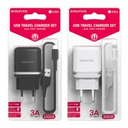СЗУ USB Borofone BA25A с кабелем iPhone 5 2USB, 2.4A, белое