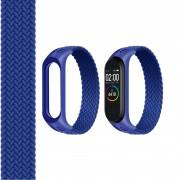 Ремешок для часов Xiaomi MI Band 3/4/5, плетёный тканевый, размер L, синий