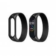 Ремешок для часов Xiaomi MI Band 3/4/5, плетёный тканевый, размер L, черный