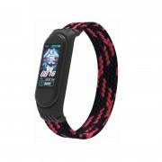 Ремешок для часов Xiaomi MI Band 3/4/5, плетёный тканевый, размер L, черно-красный