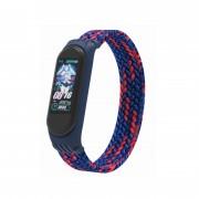 Ремешок для часов Xiaomi MI Band 3/4/5, плетёный тканевый, размер L, сине-красный