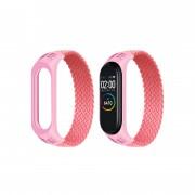 Ремешок для часов Xiaomi MI Band 3/4/5, плетёный тканевый, размер L, розовый