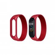 Ремешок для часов Xiaomi MI Band 3/4/5, плетёный тканевый, размер L, красный