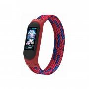 Ремешок для часов Xiaomi MI Band 3/4/5, плетёный тканевый, размер L, красно-синий