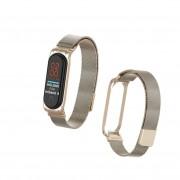 Ремешок для часов Xiaomi MI Band 3/4/5, Миланская петля, металлический, золотисто-розовый