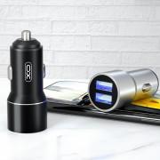 АЗУ XO-CC30, 2.4А, 12Вт, USBx2, блочок, металл, серебряный