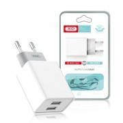 СЗУ XO L65 2.4А, 12Вт, USBx2, блочок + кабель Micro, белый