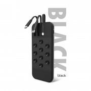 Внешний аккумулятор XO PR-119, 10000 mAh, 2A вх/вых, USBx1, встроенные кабели 3в1, черный