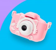 "Детский фотоаппарат + чехол ""Cute Kitty"" (видео, фронт.камера, экран 2"", microSD, игры), розовый"