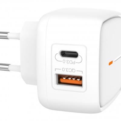 СЗУ XO L60 1 USB разъем + 1 TYPE-C разъем QC3.0+PD, блочок, белый