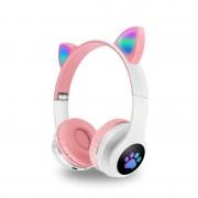Наушники Bluetooth полноразмерные Cat Ear VZV-23M со светящимися кошачьими ушками, розовый