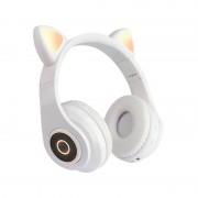 Наушники Bluetooth полноразмерные Cat Ear VZV-B39 со светящимися кошачьими ушками, белый