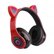 Наушники Bluetooth полноразмерные Cat Ear VZV-B39 со светящимися кошачьими ушками, красный