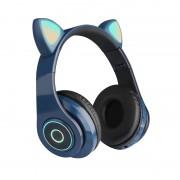 Наушники Bluetooth полноразмерные Cat Ear VZV-B39 со светящимися кошачьими ушками, синий