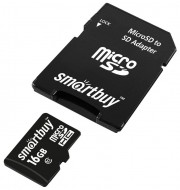 Micro SD 16GB Smartbuy (Class 10) UHS-I COMPACT с адаптером (SB16GBSDCL10-01_С)