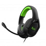Игровая гарнитура RUSH STRIKE'EM, 50мм, съемный мик, 3,5мм + адаптер 2*3,5мм, черн/зеленый