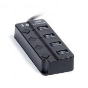 Smartbuy USB-HUB 3.0 с выключателями, 4 порта, СуперЭконом (SBHA-7324-B), черный